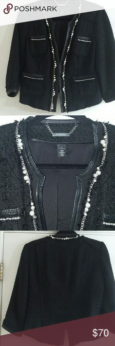 Black Boucle Blazer leather silver and pearl trim Wow, a very lady like black with Silver metallic boucle,  trimmed in leather,  pearls and silver chain link. This is a beautiful blazer that I have only tried on... offers welcome White House Black Market Jackets & Coats Blazers