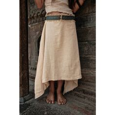 Folk Long Skirt Made of Cotton With Tribal Border Earthy Natural... ($54) ❤ liked on Polyvore featuring skirts, grey, women's clothing, grey maxi skirt, long cotton skirts, long evening skirts, cotton skirts and grey skirt
