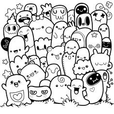 Funny monsters ,Cute Monster pattern for coloring book. Black and white background. Vector illustration,sketch on note paper. Easy Doodles Drawings, Funny Doodles, Kawaii Doodles, Art Drawings, Cute Doodle Art, Doodle Art Designs, Doodle Art Drawing, Doodle Sketch, Drawing Ideas