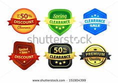 Six colorful premium quality clearance discount sale badges