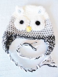 Snow Owl Crocheted Beanie Hat White Grey and Black with Tassels Photo Prop By Distinctly Daisy