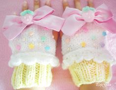 Pastel Vanilla Cupcake Fingerless Gloves Fairy by PopglitzBoutique
