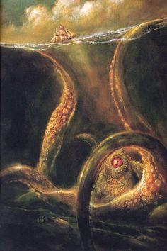 The Kraken. Below the thunders of the upper deep; Far far beneath in the abysmal sea, His ancient, dreamless, uninvaded sleep The Kraken sleepeth: faintest sunl Monster Art, Fantasy Creatures, Mythical Creatures, Mythological Creatures, Kraken Sea Monster, Kraken Art, Kraken Squid, Sea Monsters, Norse Mythology