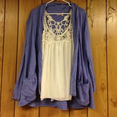Outfit bundle (medium) New! Tank is a small and open cardigan is m/l worn oversized Sweaters Cardigans