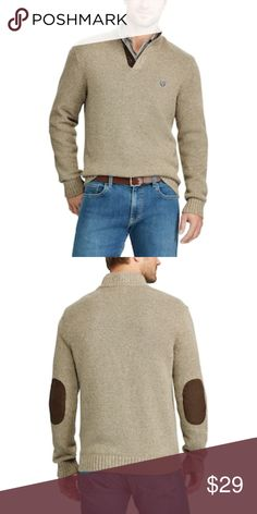 New Men's Chaps Classic-Fit Mock-Neck Sweater Condition:  NWT Size:  Large Color:  Oak Twist Material:  Sweater is100% Combed Cotton / Elbow patches polyester Details:  Ribbed cuffs and hem. Elbow patches.  Chaps embroidered logo.  3-button placket Long sleeves.  Classic fit features relaxed arm holes, regular body, and traditional sleeve openings Chaps Sweaters