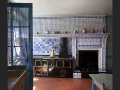 A blue and antique kitchen. Claude Monet's house