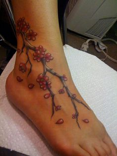 ankle tattoo cherry blossom