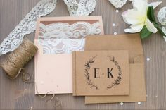 Wedding Invitation Booklet - Kraft and Floral, Custom Wording, Rustic Tiny Stitched Handmade Booklet