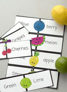 Free Literacy Printable for Kids. - This printable is a fantastic way to teach about fruits, colours and basic reading skills. Download Your free copy today for home and school use.