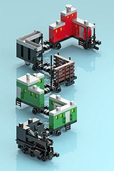 Folded Space Syndrome -- digital rendering of Lego train by Korean builder Amida Na