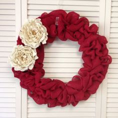 Wreath for Door, Red Burlap Wreath with Cream Burlap Flowers, Large Burlap Wreath, Wreath for All Year - pinned by pin4etsy.com