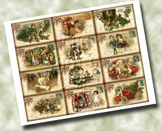 Christmas Holiday PostCard Vintage Hang/Gift Tags by thephotocube