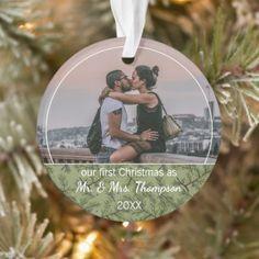 Custom Couple Photo Christmas Personalized Ornament Memorial Ornaments, Holiday Ornaments, Holiday Cards, Christmas Cards, First Christmas, Christmas Photos, Wife Humor, Honeymoon Gifts, How To Make Ribbon