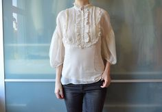 Hugo boss #vintage #style victorian cream silk #blouse top ~uk 6 will also fit 8 ,  View more on the LINK: http://www.zeppy.io/product/gb/2/391678921057/