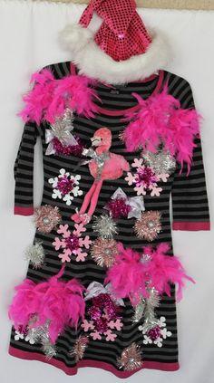 Ugly Tacky Christmas Flamingo Sweater Dress & by DebsTackySweaters Tacky Christmas Party, Diy Ugly Christmas Sweater, Naughty Christmas, Christmas Flamingo, Holiday Sweaters, Tropical Christmas, Christmas Time, Christmas Ideas, Reindeer Ugly Sweater