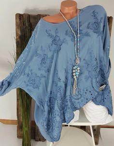 Sommer Oversize shirt Tunika Bluse Top Poncho für kleine Größen 38 bis 44
