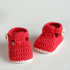 Ravelry: Crochet baby Booties - Ruby Slippers pattern by Croby Patterns $4.99
