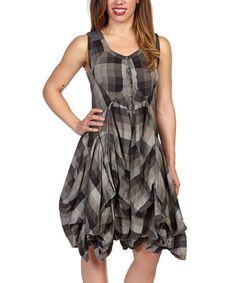 This Light Gray Big Check Sleeveless Dress is perfect! #zulilyfinds