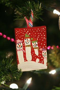 Hand print snowman ornament