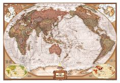 World Executive Pacific Centered Pinterest - Antique looking world maps for sale