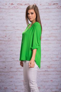 Color Pop Rocks Top, Green || You know that feeling when you eat pop rocks? It's always so surprising, exciting and fun! Well, that's exactly how it feels wearing this top! The bright green makes it so exciting and fun to wear!!