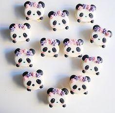 Panda macarons by - Laurensia Eveline Dous Dolce ( Panda Birthday Party, Panda Party, Macaron Cookies, Macaroons, Bolo Panda, Panda Cakes, Kawaii Dessert, Cute Baking, Macaroon Recipes