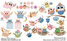 Baby shower owl digital clip art for Personal by Giftseasonstore