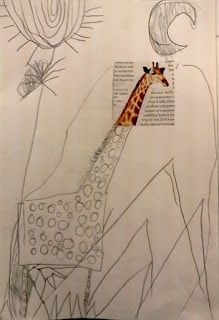 Limma fast en bit från en tidning och låt eleverna bygga på/rita till en egen bild med deras egna fantasi och detaljer. Förskoleklass!