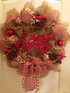 Burlap Mesh Christmas Wreath Red on Etsy, $55.00