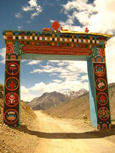 "Gate to Key Gompa (monastery) in Spiti, India. ""Key Gompa is a Tibetan Buddhist monastery located on top of a hill at an altitude of 4,166 metres above sea level, close to the Spiti River, in the Spiti Valley of Himachal Pradesh, Lahaul and Spiti district, India."""