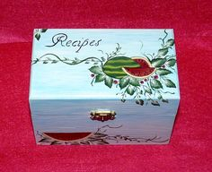 Decorative Recipe Box Custom Painted Wood Pencil Holder Shabby Chic Office Organizer