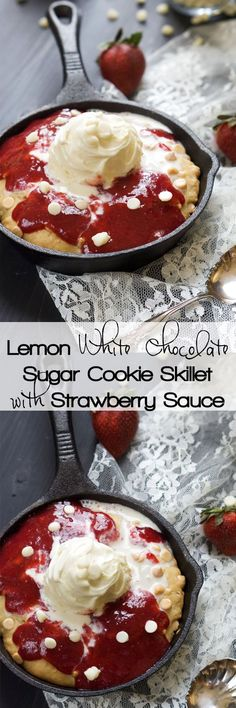 Tasty }- Vanilla Custard White Chocolate Sugar Cookie Skillet with Strawberry Sauce - A decadent White Chocolate Sugar Cookie Skillet that is simple to make, topped with vanilla custard and drizzled with a gooey homemade strawberry sauce! Funnel Cakes, Just Desserts, Delicious Desserts, Yummy Food, Biscotti, Mousse, Yummy Treats, Sweet Treats, Dessert Crepes