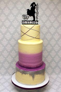 Such fun customization on this 3 tier wedding cake! 3 Tier Wedding Cakes, Custom Cakes, Airbrush, Icing, Sparkle, Urban, Creative, Desserts, Fun