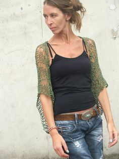 Army green Loose knit cotton shrug 2 left in this shade by ileaiye