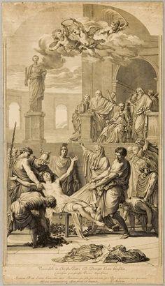 Martyrdom of Saint Lawrence. Gérard Audran. After Eustache Le Sueur.