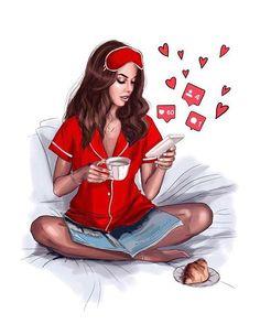 Illustration by Nastya Kosyanova Girly M, Girly Girl, Fashion Illustrations, Fashion Sketches, Arte Fashion, Fashion Design, Girly Drawings, Illustration Mode, Digital Art Girl