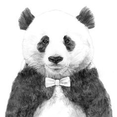 Panda with a Bow Tie! ^_^ I've def seen a panda with a bow tie before. Art And Illustration, Illustrations, Ohh Deer, Panda Love, Panda Panda, Happy Panda, Oeuvre D'art, Cute Animals, Art Prints