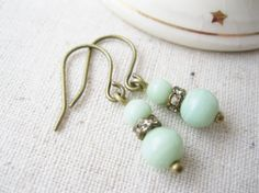 Small Mint Green Earrings. Vintage Beads. by dellabellaBoutique