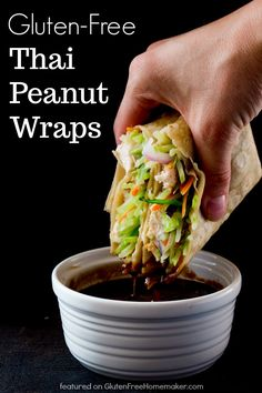 Thai Peanut Wraps from Life After Wheat - Crisp veggies, tender garlic chicken, and a deliciously tangy-sweet peanut sauce make these Thai Peanut Wraps irresistible! They're also gluten free and dairy free, with a low-carb option.