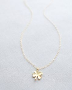 Simple Gold Clover Necklace by Olive Yew