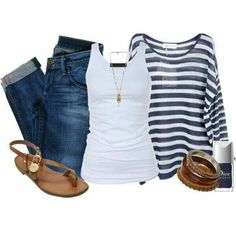 I love the loose, sheer striped top over the tank.  Perfect.