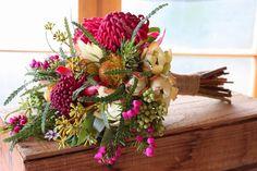 Native Spring Wedding Flowers - waratah, dryandra, berzelia, boronia, leucadendron