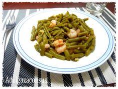 Judías verdes con gambas  ngredientes para 2: 500 gr de judías verdes redondas cocidas 100 gr de gambas  1 ajo 1 cucharada de aceite de oliva
