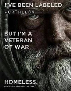 It is estimated that 67% of homeless men are veterans.