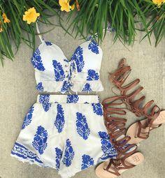 Blue floral 2 piece set #swoonboutique