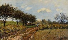 Path in the Country, 1876 by Alfred Sisley. Impressionism. landscape