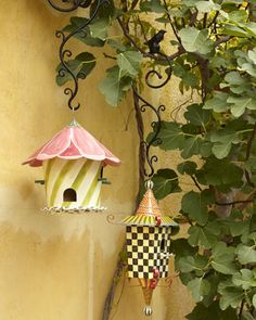 Hollyhock and Pagoda Birdhouses & Hook by MacKenzie-Childs at Horchow....especially love the Tulip petal roof ;)