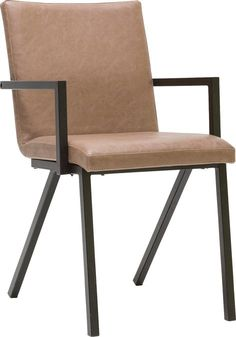 Jersey is een retro-trendy eetkamerstoel. De natuurlijke bruine vintage stoffering zorgt voor een warme uitstraling en het zwarte metalen frame is geheel volgens de laatste trends. Het mooie design in combinatie met het heerlijke zitcomfort maken deze stoel tot een gewild object.