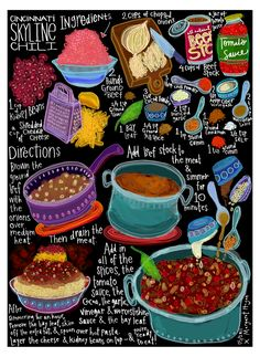 I'd love to make skyline chili & serve like a bolognese sauce with pappardelle or wide egg noodles. Or even fill ravioli with it & eat with a rich sauce, maybe flavored with butternut squash or pumpkin Skyline Chili, Cincinnati Chili Skyline, Chefs, Food Drawing, Chili Recipes, Copycat Recipes, Kitchen Art, Food Illustrations, Recipe Cards