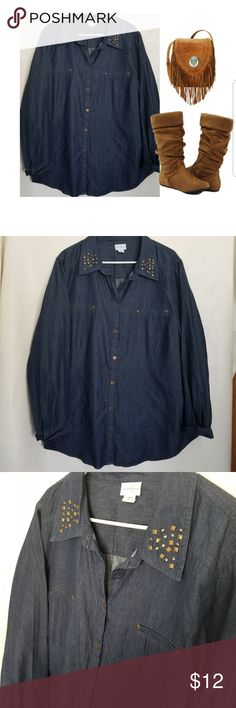 Chambry Jean Shirt Studded Collar Dark wash jean shirt with cute studded collar detail. Would be cute with black leggings and boots . Definitely in style , some stretch and plus size by Jaclyn Smith. Good quality, great used condition. Jaclyn Smith Tops Button Down Shirts